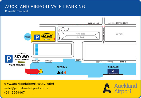 Skyway Auckland Airport Valet Parking - Domestic Map